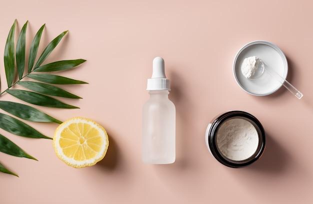 ビタミンc美容製品コンセプトで美容液を調製するための老化防止パウダー