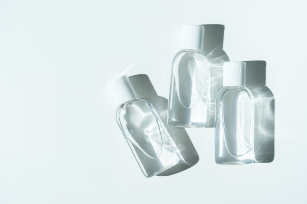 Antibacterial sanitizers for hands on white background. personal hygiene product.