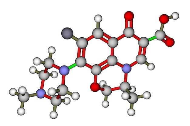 항생제 ofloxacin 분자 구조