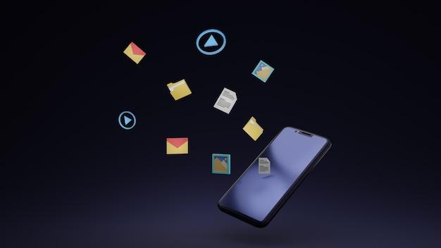 Антигравитационный дизайн смартфона для обмена файлами 3d-дизайн