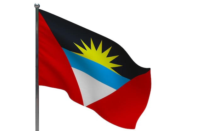 Флаг антигуа и барбуды на шесте. металлический флагшток. национальный флаг антигуа и барбуды 3d иллюстрация на белом
