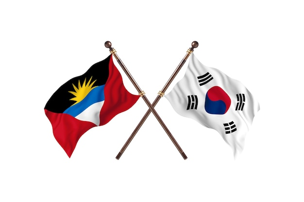 Antigua and barbuda versus south korea two countries flags background