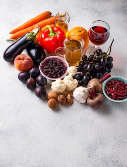 Antioxidant food in concrete table