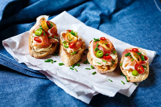 Antipasti. italian food bruschetta.