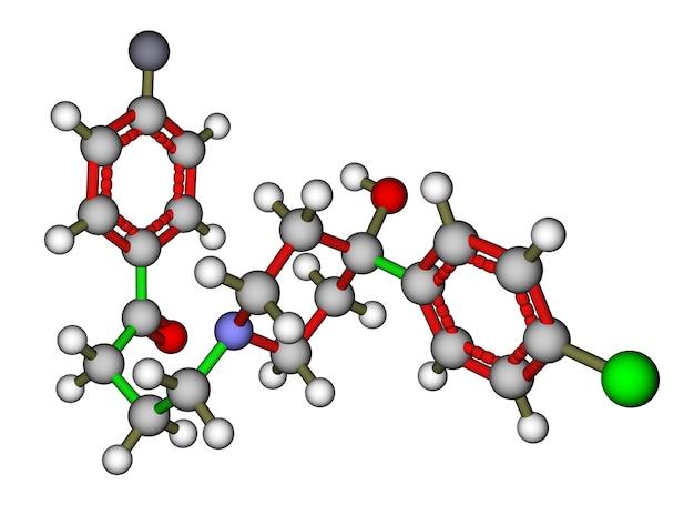 Antipsychotic haloperidol molecular structure. the drug used to treat schizophrenia and hallucinations