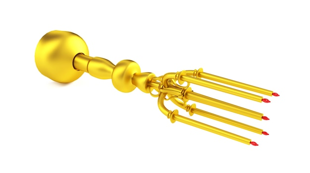 Antique brass candle holder on white. 3d render