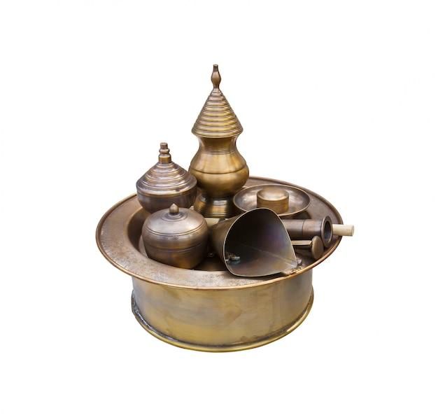 Antique brass pots