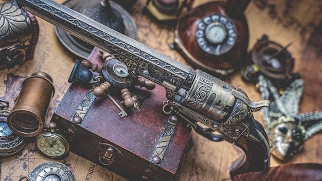 Antique bronze gun and old pirate collection