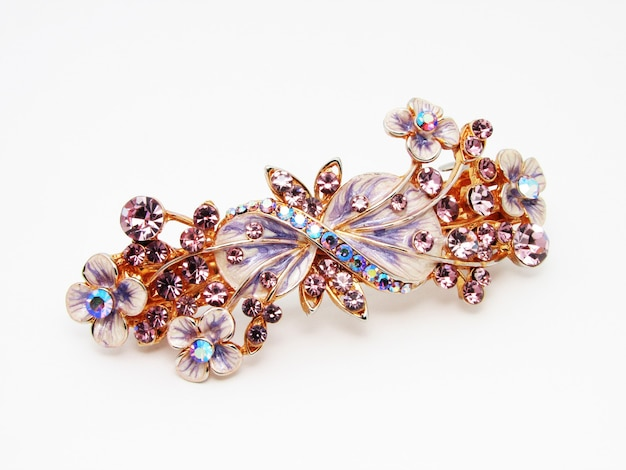 Antique brooch isolated on white