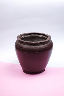 Antique brown glass pot vase
