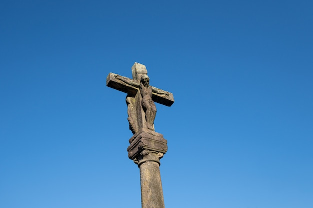 Antique carved stone cross called cruceiro. galicia, spain