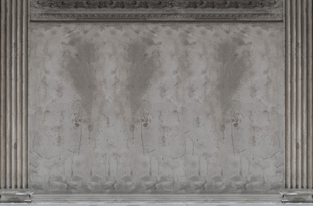 Antique cement classic wall building roman style for background