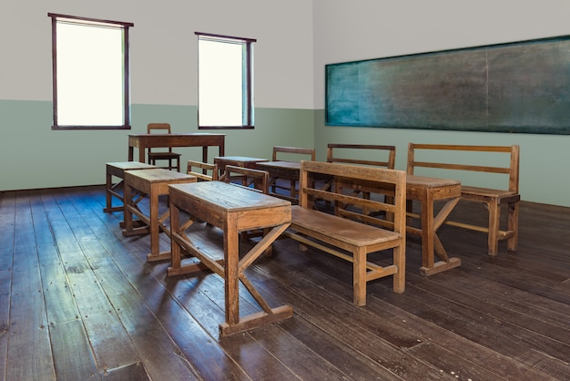 Antique classroom in school with rows of empty wooden desks