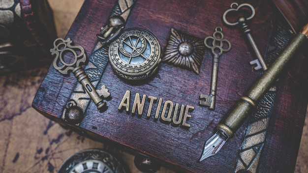 Antique collection on wooden treasure box