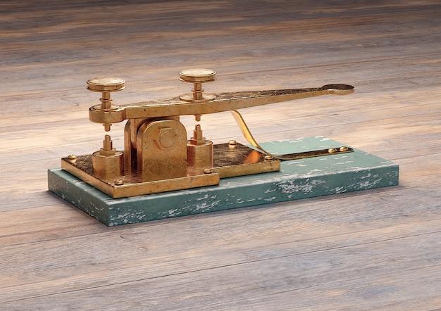 木製のテーブルに分離されたアンティーク電信機。 3dレンダリング