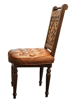 Antique engrave wooden chair isolated on white background
