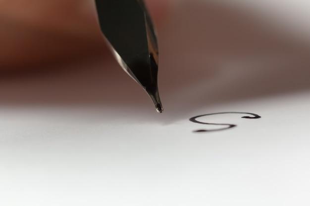 Antique fountain pen writing