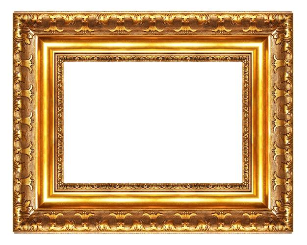 흰색 배경에 고립 된 골동품 황금 빈 프레임
