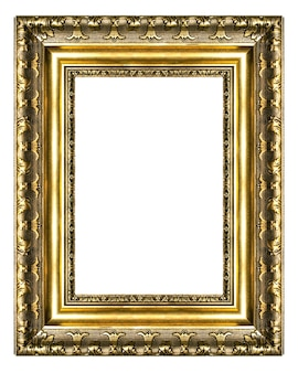 Antique golden blank frame isolated on white background
