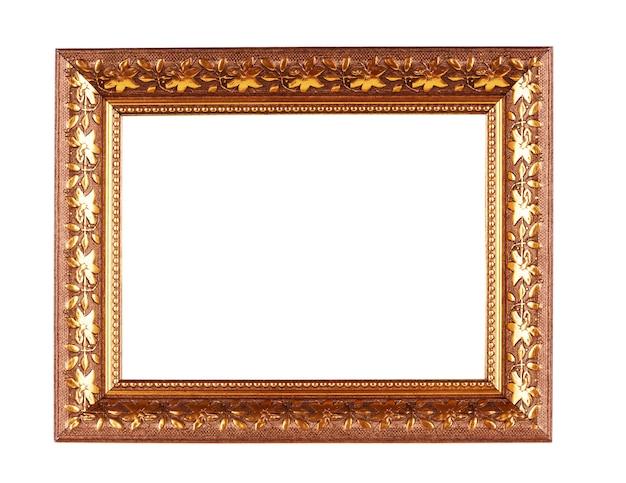 白い背景で隔離のアンティークの金色のフレーム