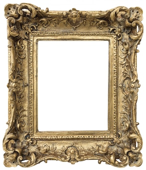 Antique golden frame with empty space isolated on white background