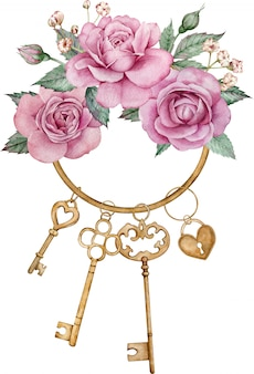 Antique golden keys with pink roses, green leaves isolated