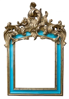Antique golden turquoise frame with empty space isolated on white background