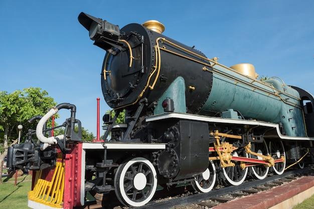 Antique green  locomotive stream train
