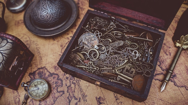 Antique keys in treasure box