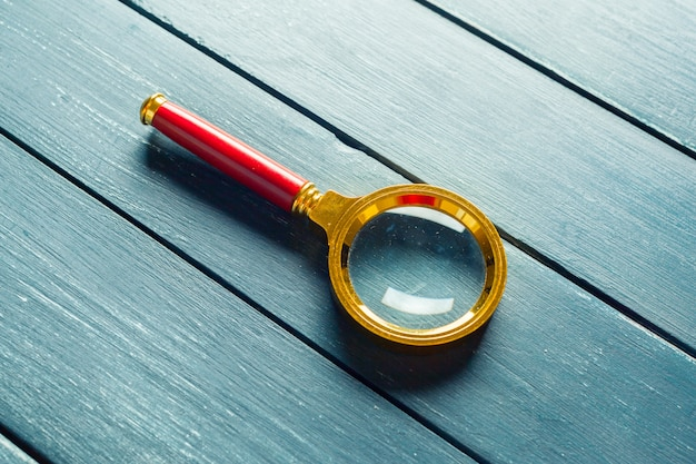 Antique magnifying glass top view