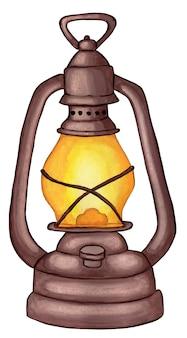 アンティークオイルランプハロウィーンの灯油ランプ白で隔離の水彩イラスト