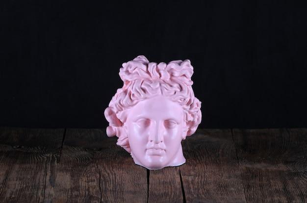 여성 머리의 골동품 핑크 석고 조각