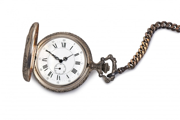 Antique pocket watch isolated on white.