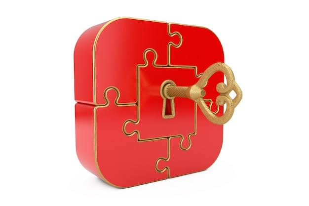 Antique retro old golden key in red jigsaw puzzle box on a white background. 3d rendering