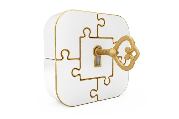 Antique retro old golden key in white jigsaw puzzle box on a white background. 3d rendering