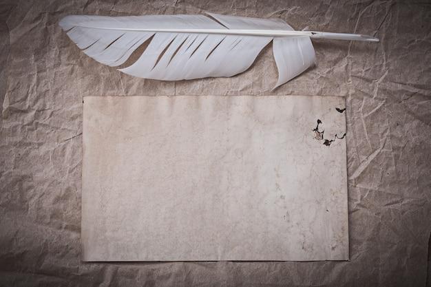 Старинное листовое перо на мятой оберточной бумаге