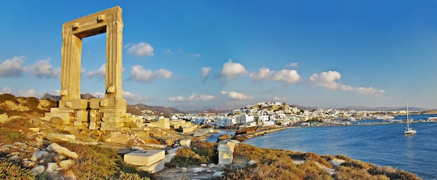 Antique temple ruins in naxos in cyclades