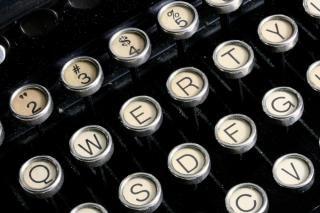 Antique typewriter close up  type
