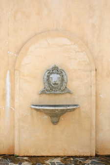 Antique wash basin with a stoned lion head and vessel sink on concrete wall.