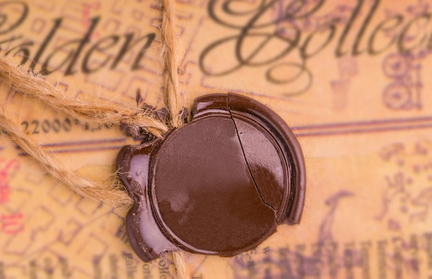 Antique wax seal on the old document.