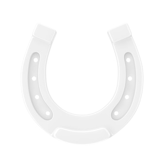 흰색 바탕에 클레이 스타일의 골동품 흰색 말굽. 3d 렌더링