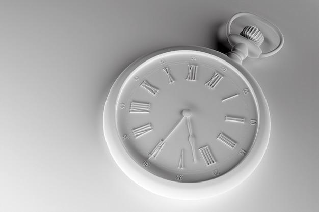 Старинные белые круглые часы на монохромном
