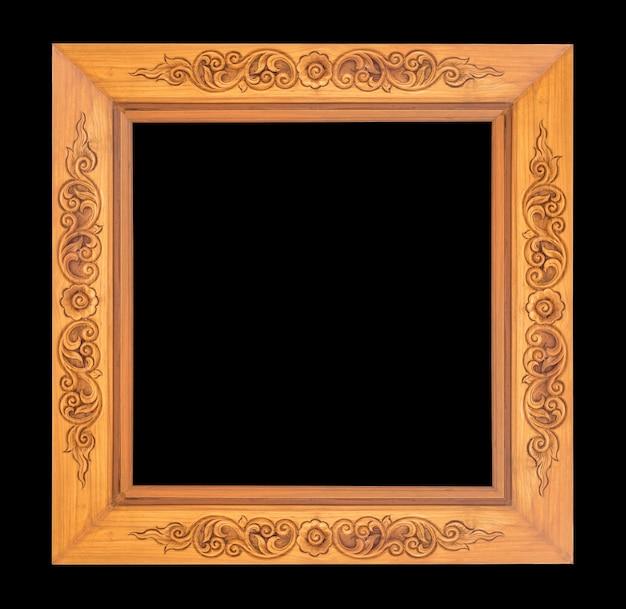 Antique wood frame on black background
