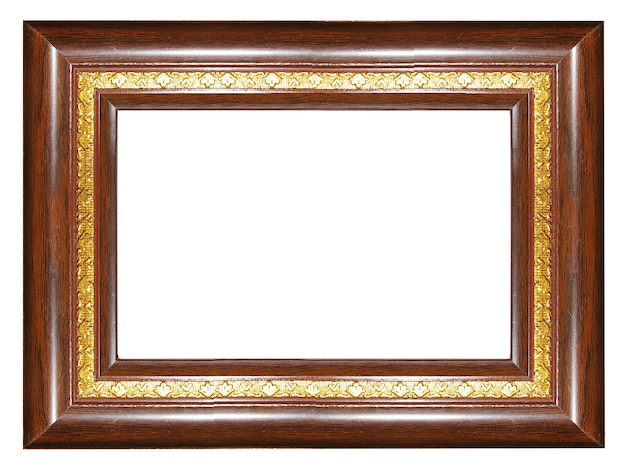 Antique wooden blank frame isolated on white background