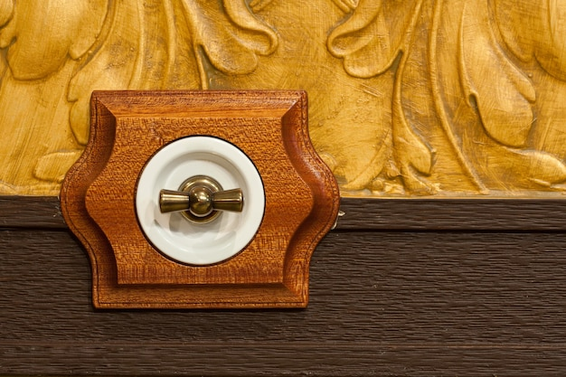 Antique wooden light switch