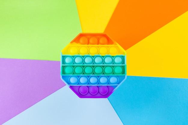 Игрушка-антистресс pop it rainbow, силиконовая сенсорная непоседа на красочной поверхности