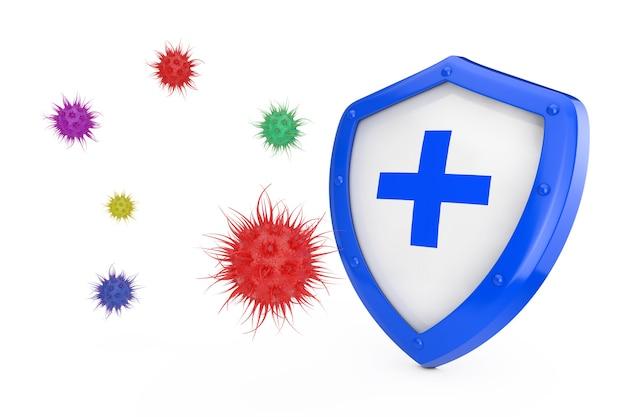 Противовирусная концепция. антибактериальный или антивирусный щит, защищенный от вирусов или бактерий на белом фоне 3d-рендеринга