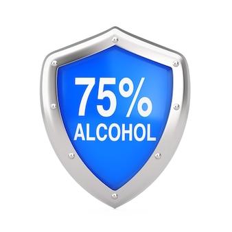 Концепция противовирусной дезинфекции. щит дезинфектора 75% алкоголя защищен от вирусов или бактерий на белом фоне. 3d рендеринг