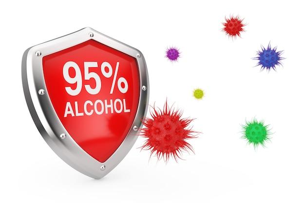 Концепция противовирусной дезинфекции. щит дезинфектора 95% алкоголя защищен от вирусов или бактерий на белом фоне. 3d рендеринг