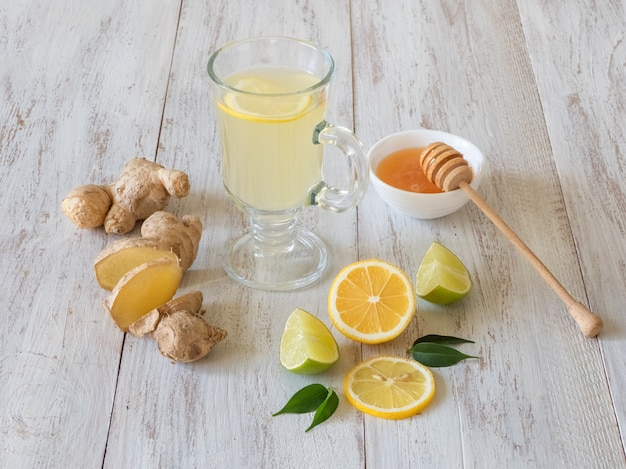 Antiviral drink with lemon, honey and ginger root, strengthening of immunity concept